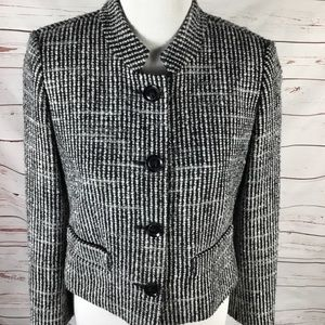 Ann Taylor Loft Tweed Crop Jacket Black & White